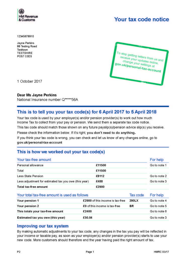 Copy Of P60 >> Your Tax Code – Checks you should carry out - Tax Help for Older People